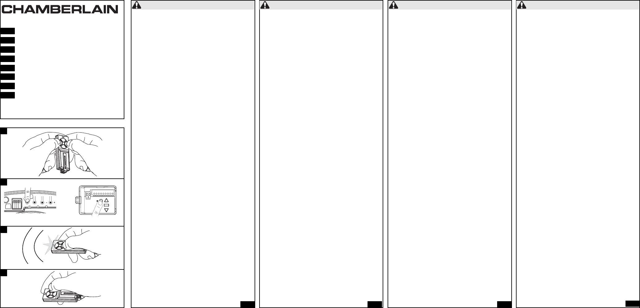 Handleiding Chamberlain Tx4runi Pagina 1 Van 2 Dansk