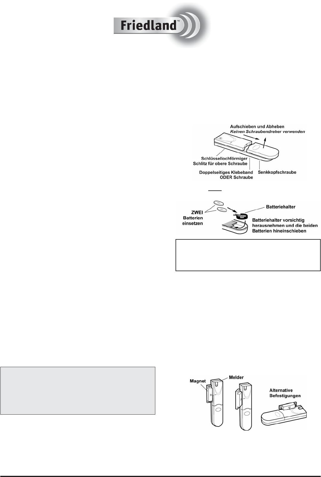 handleiding friedland hw4f (pagina 1 van 2) (deutsch)