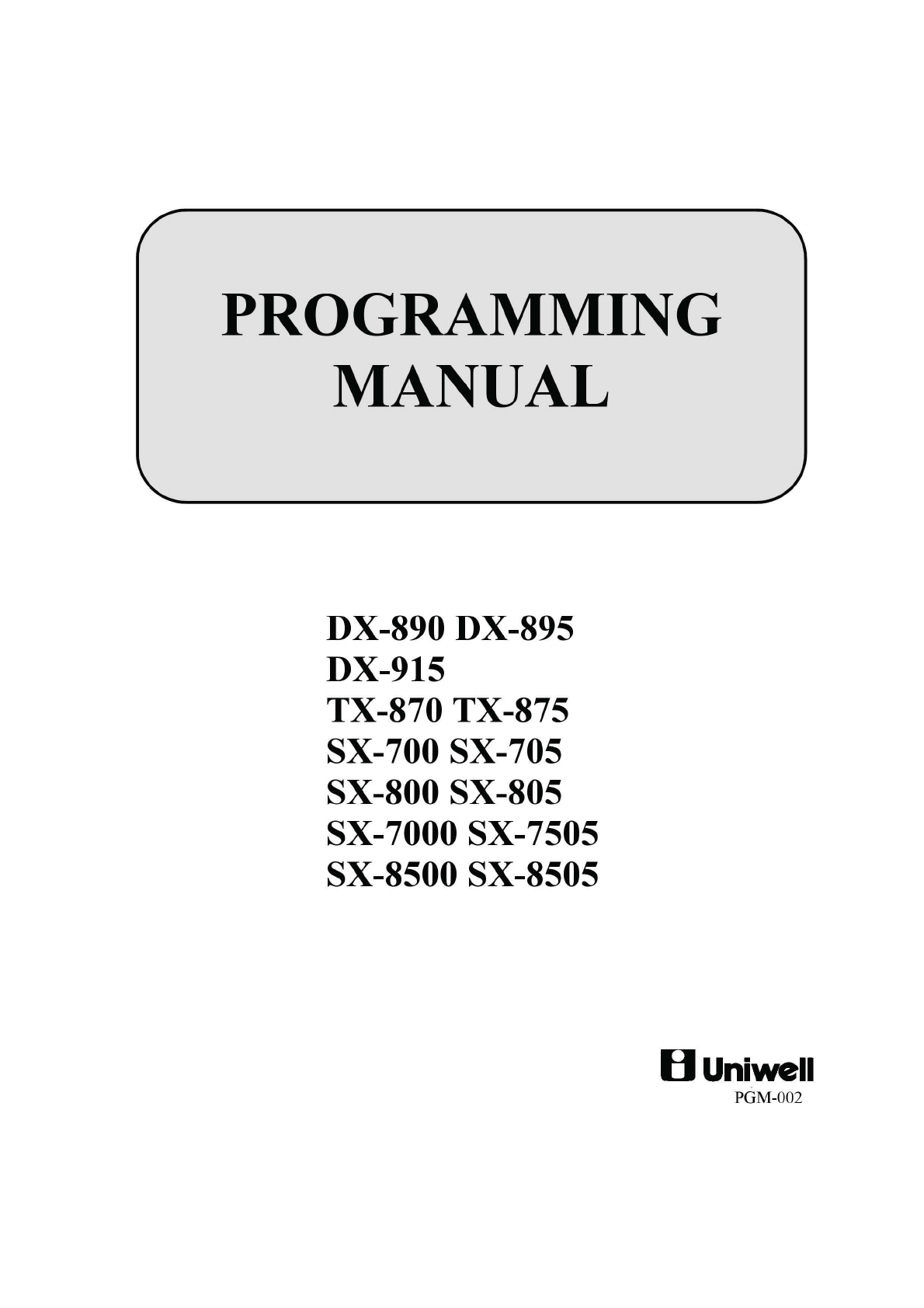 Uniwell dx-890 dx-895 dx-915 tx-870 tx-875 sx-700 sx-705 sx-800 sx.