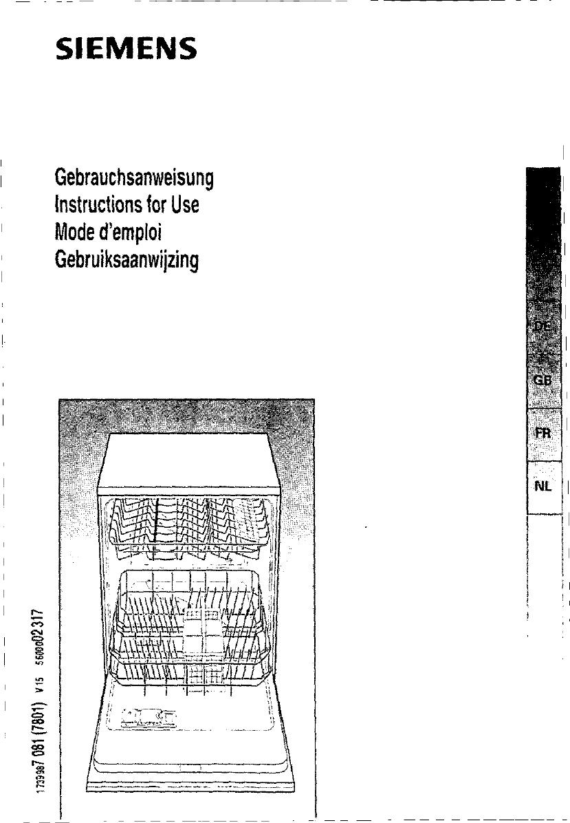 Handleiding siemens vaatwasser se65560