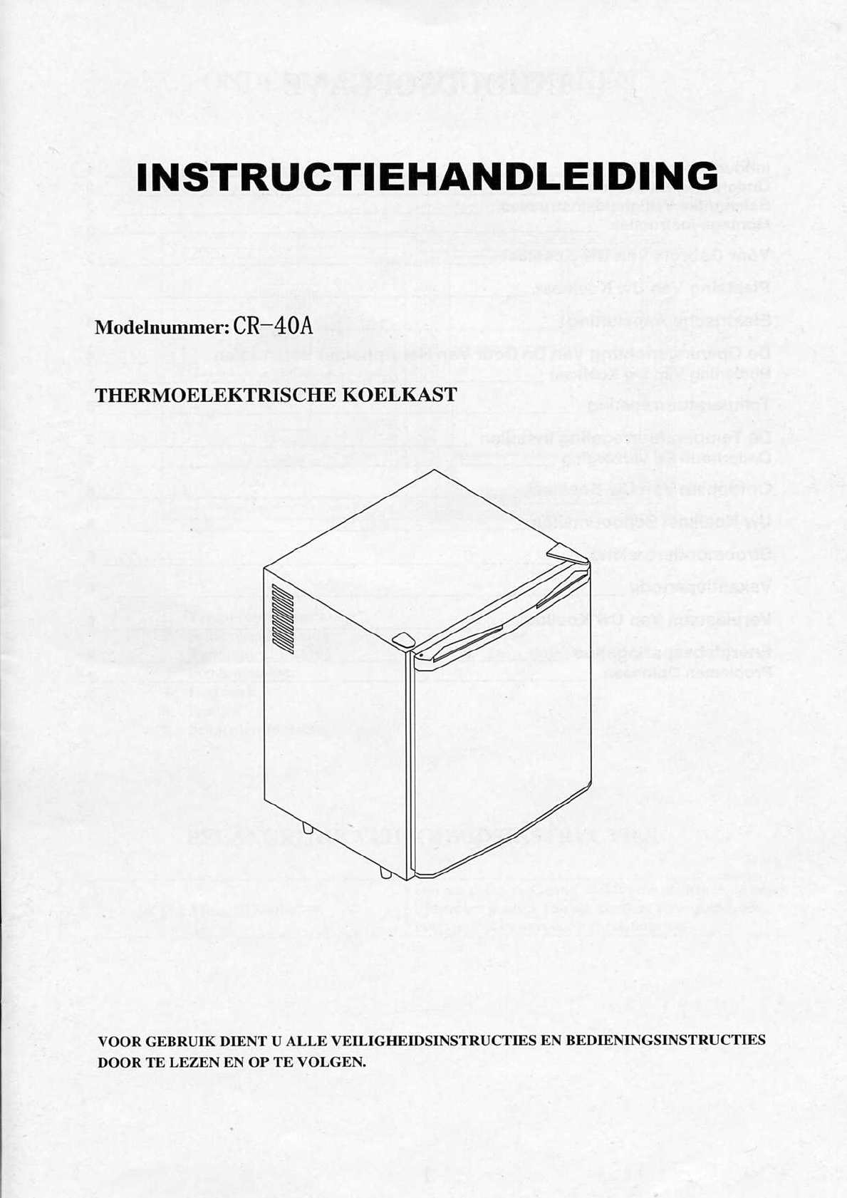 Cr40a koelkast handleiding