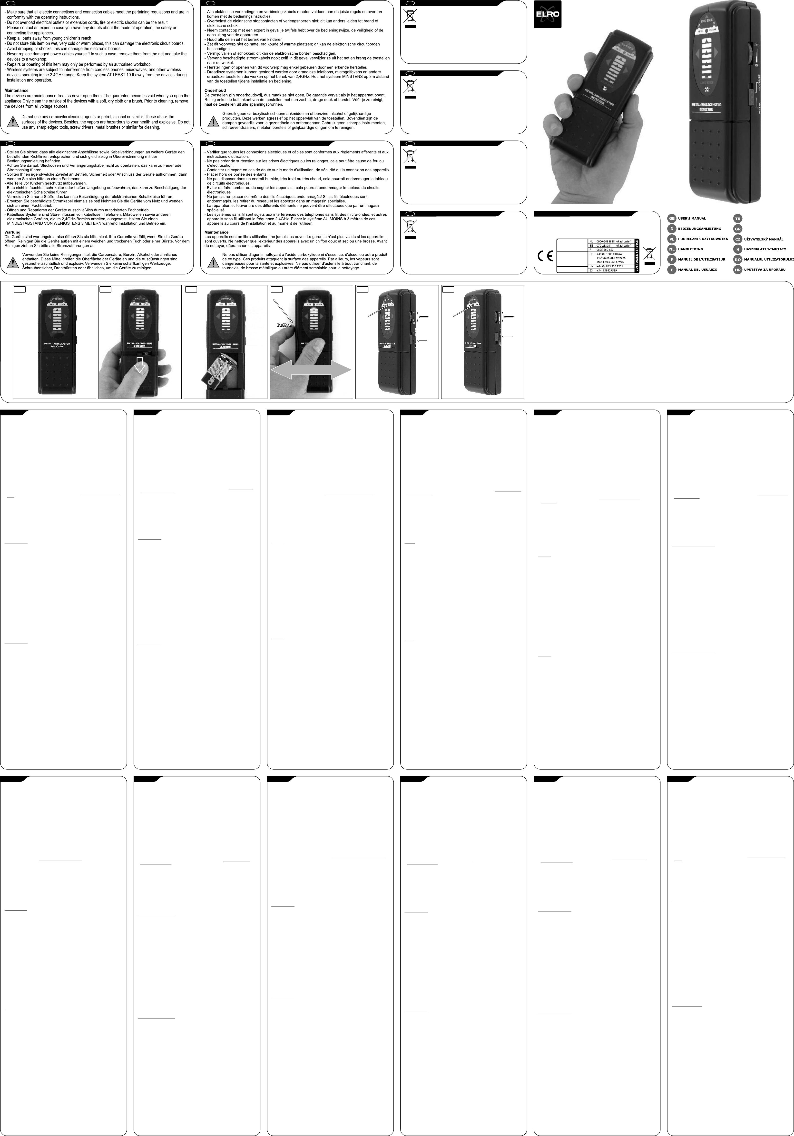 Handleiding Elro M 130 Universal Scanner Pagina 1 Van 1 Deutsch  # Pan De Mur Avec Tv