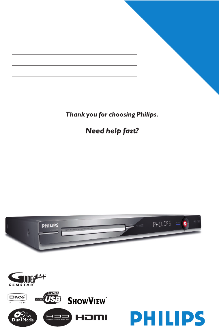 philips dvdr3575h manual
